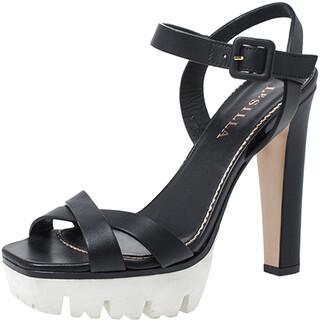 Le Silla Black Cross Strap Leather Platform Sandals Size 37