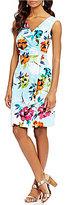 Adrianna Papell Jacquard Printed Side Draped Sheath Dress