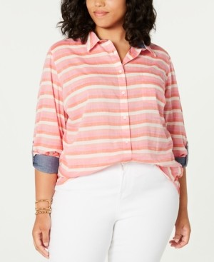 Tommy Hilfiger Plus Size Cotton Striped Shirt, Created for Macy's