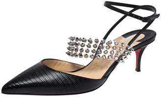Christian Louboutin Black Lizard Embossed Leather And PVC Levita 55 Studded Ankle Wrap Sandals Size 39