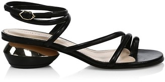 Nicholas Kirkwood Beya Ankle-Wrap Leather Sandals
