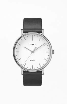 Timex Black Fairfield Leather Strap Watch