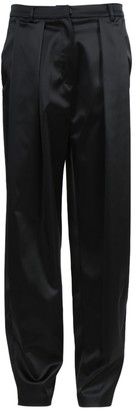 Magda Butrym Black Satin High-waisted Harwich Pants