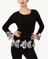 INC International Concepts Ribbed Crochet-Lace Sweater, Created for Macy's