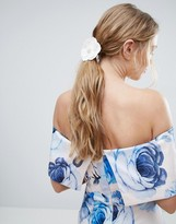Asos Occasion Faux Leather Flower Hair Tie