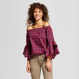3Hearts Women's Plaid Off the Shoulder Statement Sleeve Top - 3Hearts® (Juniors') Red/Navy