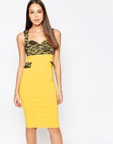 Vesper Taylor Sweetheart Neckline Pencil Dress With Lace