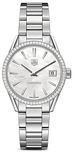 Tag Heuer Carrera Stainless Steel and White Mother of Pearl Dial Watch with Diamond Bezel Case, 32mm