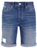 Burton Mens Mid Blue Stretch Rip And Repair Denim Shorts