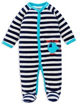 Offspring Infant Boys' Helicopter Striped Velour Footie - Sizes 3-9 Months