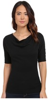 Michael Stars Shine Elbow Sleeve Drape Neck Top Women's T Shirt