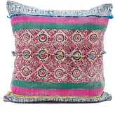 Karma Living Block Printed Floor Pillow - 24 x 24 - Blue/Fuchsia