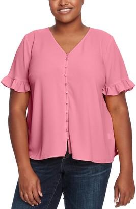Cece By Cynthia Steffe Ruffle Sleeve Button Down Blouse (Plus Size)