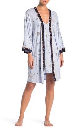 Hale Bob Paper Crane & Constellation Print Nightgown & Robe Set