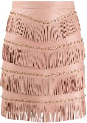 Drome Stud-Embellished Fringed Skirt