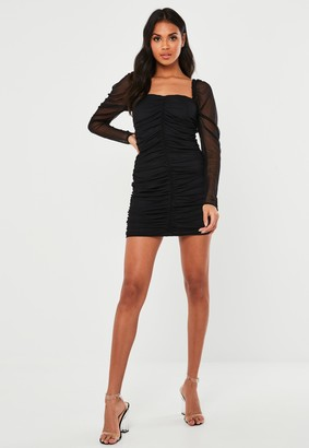 Missguided Black Mesh Ruched Long Sleeve Mini Dress