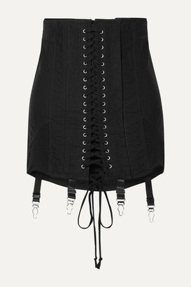 Orseund Iris Gamine Lace-up Cotton-twill Mini Skirt - Black