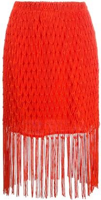 AllSaints Fringe-Detail Midi Skirt
