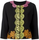 Moschino lace detail cropped jacket - women - Cotton/Polyester/Acetate/Triacetate - 40