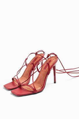Topshop RAMONA Red Stappy Sandals