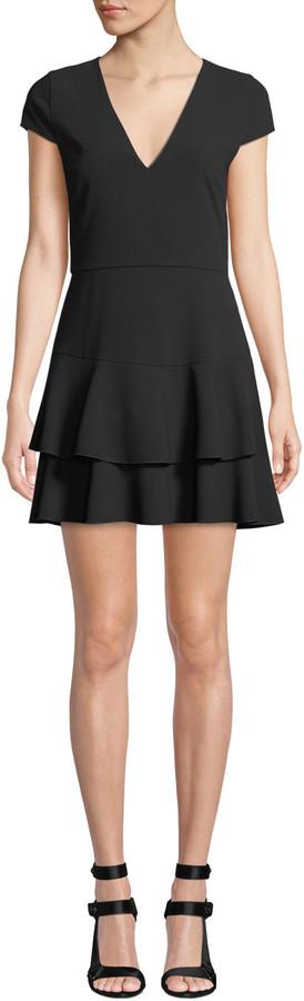 Alice + Olivia Palmira V-Neck Ruffle Dress