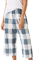 Jigsaw Gingham Wide Leg Trousers, Sea Green