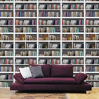 Camilla And Marc Walplus 12 Packs-Library Bookshelf Wall Sticker, Vinyl, Multi-Colour, 90 x 60 x 4 cm