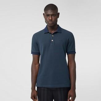 Burberry Button Detail Cotton Pique Polo Shirt