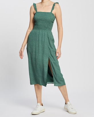 Abercrombie & Fitch Smocked Bodice Midi Dress