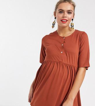 Asos Nursing DESIGN Maternity nursing button front smock top in rust-Brown