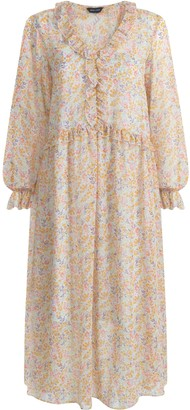 New Look Cream Floral Ruffle Trim Midi Dress