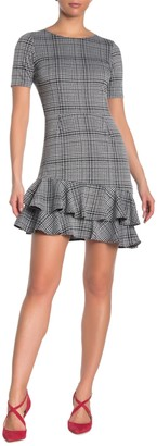 Love...Ady Plaid Short Sleeve Ruffle Hem Dress