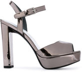 Stuart Weitzman metallic (Grey) platform sandals