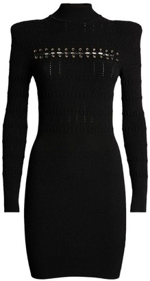 Balmain Long Sleeve Lace-Up Dress