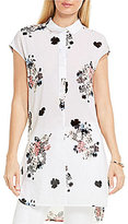 Vince Camuto Two by Short Sleeve Bouquet Whimsy Henley Long Tunic