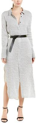 Halston Women's Long Sleeve Pinstripe Maxi Shirt Dress