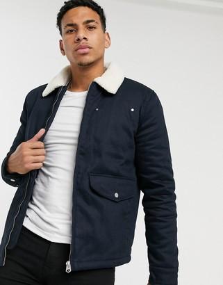 Topman harrington jacket with borg collar in navy