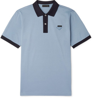 Prada Logo-Appliqued Contrast-Tipped Cotton-Pique Polo Shirt