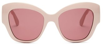 Gucci GG-logo Quilted Cat-eye Acetate Sunglasses - Light Pink