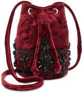Steve Madden Velvet Emerald Beaded Mini Bucket Bag