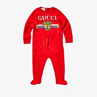 Gucci Kids Feline Long Sleeve All-In-One One-Piece (Infant) (Candy Apple/Multicolor) Boy's Jumpsuit & Rompers One Piece