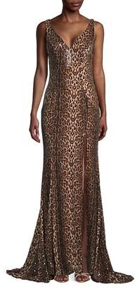 Mac Duggal Leopard-Print Sequin Gown