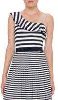 Akris Punto Striped Ruffled One-Shoulder Top, Navy/Cream