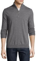 Burberry Merino Wool 1/2-Zip Sweater w/Check Shoulders, Mid-Gray Melange