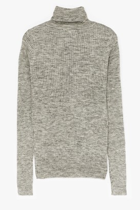 Nasty Gal Womens Had Knit Up to Here Ribbed Turtleneck Sweater - Silver Grey