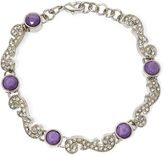 Liz Claiborne Purple Stone and Crystal Silver-Tone Flex Bracelet