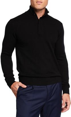 Neiman Marcus Men's Quarter-Zip Cashmere Sweater w/ Suede Placket