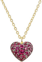 Finn Women's Ruby Puffed Heart Necklace