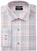 Alfani Black Men's Big & Tall Classic/Regular Fit Performance Coral Blue Windowpane Dress Shirt, Created for Macy's