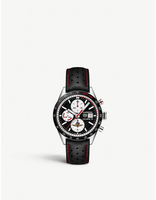 Tag Heuer CV201AS.FC6429 Carrera steel and leather automatic watch
